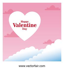 romantic card happy valentine day pink sky and clouds
