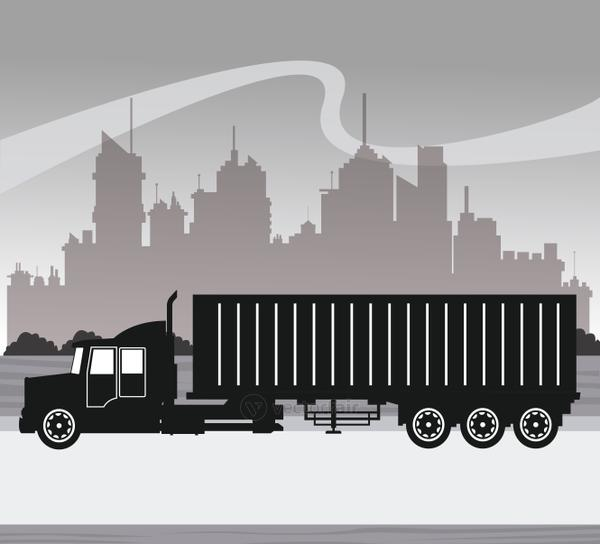 silhouette truck transport container urban background