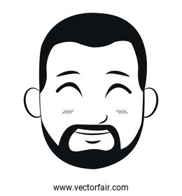 portrait head man bearded smiling outline