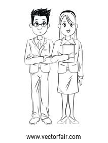 man and woman business success executive outline