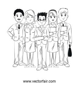 group young employees team work business