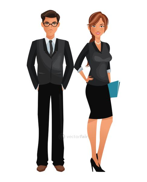 couple worker office business standing