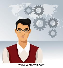 man business office with glasses world gears