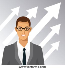 man with glasses suit business arrow growth