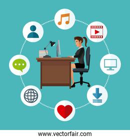 woman working desk laptop social media icons