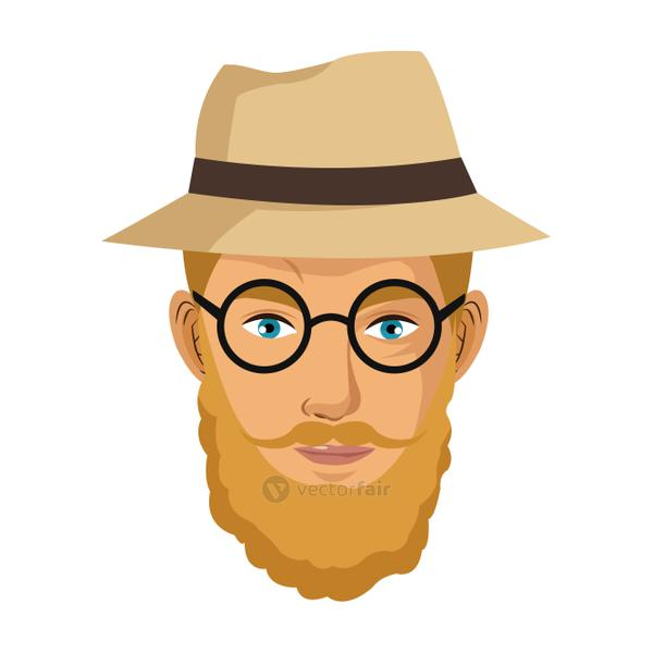 portrait man blond bearded gentle hat glasses blue eyes