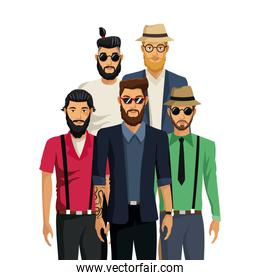 men hispter fashion hair beards hat and sunglasses