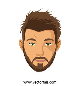 portrait man bearded green eyes brown hair
