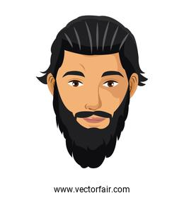 portrait man bearded black hair