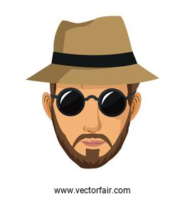 portrait man bearded sunglasses hat