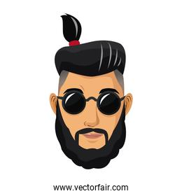 portrait man bearded tail hair sunglasses