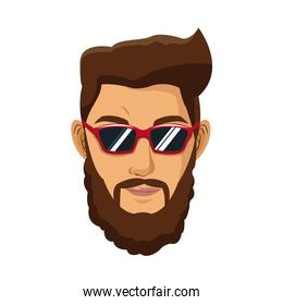 portrait man bearded brown hair red glasses hipster