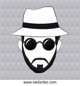 hipster man beard hair hat sunglasses
