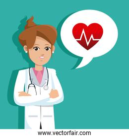 doctor female cossed arms with heart rate bubble speech