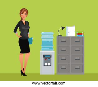 woman breaktime office cooler water cabinet file