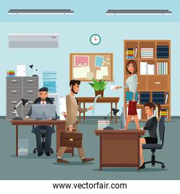 people workplace with desk bookshelf cabinet clock table potted plant board