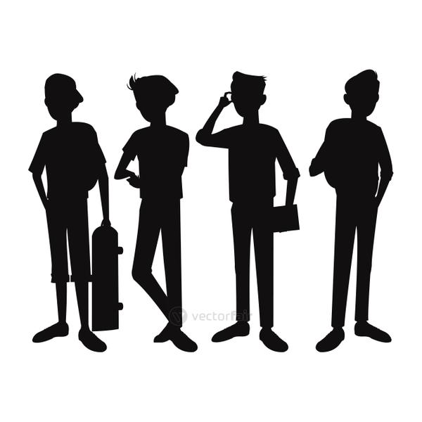 silhouette teens boy student design