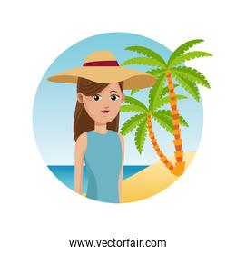 woman travel tourist with hat palm sand beach