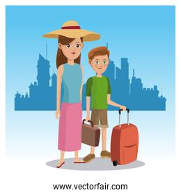 mother and son tourist baggage hat traveler urban background