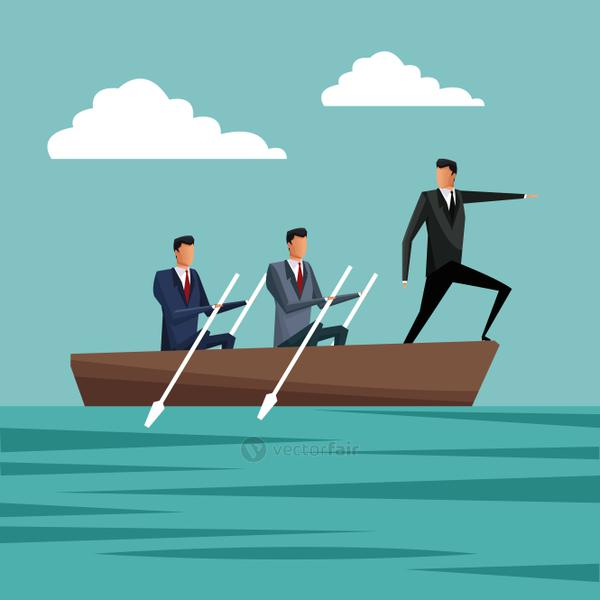 business people paddling team work manager growth