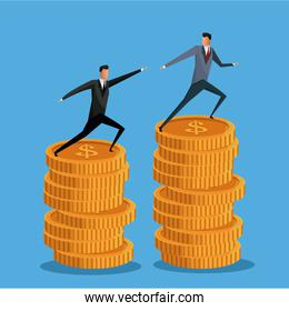 men business on pile coin growth collaboration