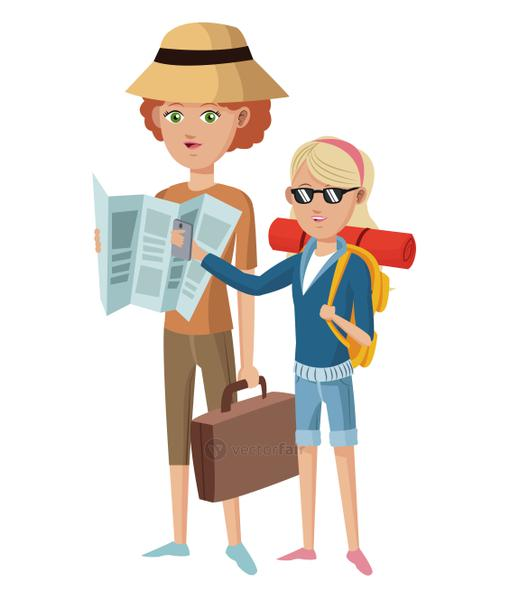 two woman tourist traveler with suitcase map hat glasses