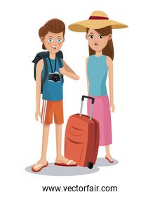 travel couple tourist vacation backpack camera baggage