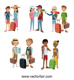 collection couples traveling baggage tourist