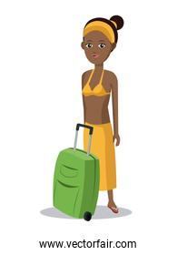 cute afro girl suitcase clothes