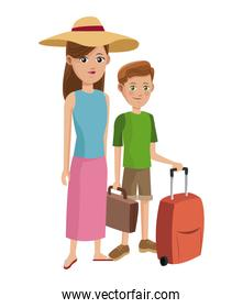 traveler woman and boy tourist with suitcase hat