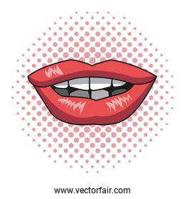 pink lips woman pink dotted background