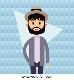 portrait hipster young man beard hat abstract background