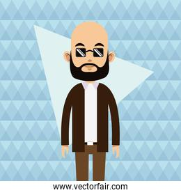 balding young man beard sunglasses abstract background