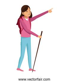 young girl hiking backpack with walking stick