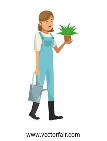 woman garden clothes with water can and pot plant