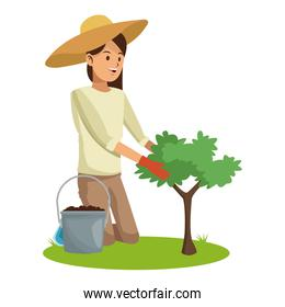 woman with hat gardering planting tree and earth pot
