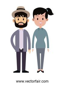 hispter man and young girl couple relation together
