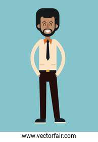 afro american man beard with tie shirt smiling
