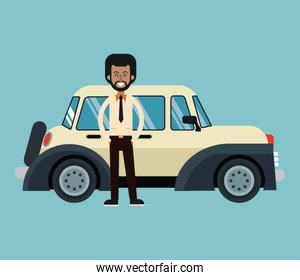 afro american man standing with beige classic automovile