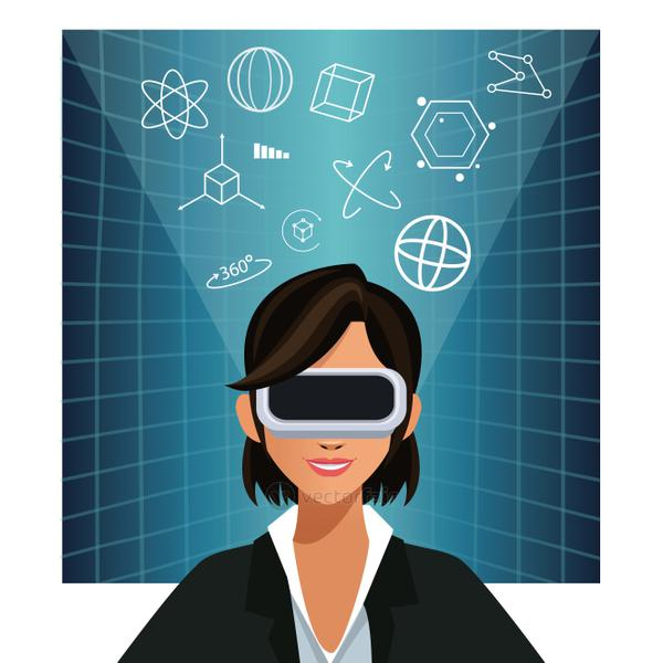 woman wearing glasses augmented reality 3d background