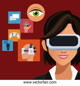 woman wearing headset augmented reality icons
