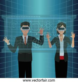 couple interactivity vr goggles display virtual technology