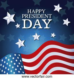 happy president day flag waving star background