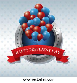 happy president day bunch balloons ribbon label