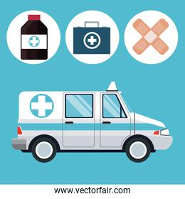 ambulance emergency vehicle medicine icons