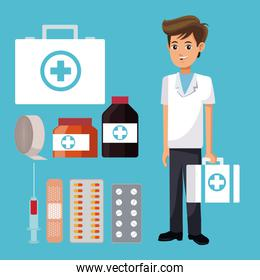 staff medical man suitcase first aid with medicine icons