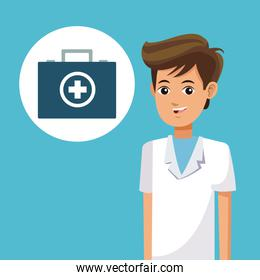 young paramedic man clinic health suitcase cross