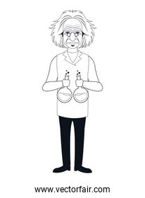 character scientist physical holding test tube outline