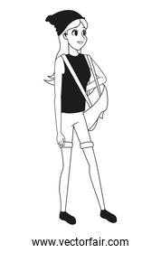 young woman standing hat backpack outline