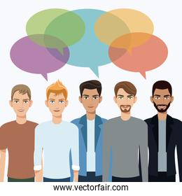 group men communication dialog bubble speech